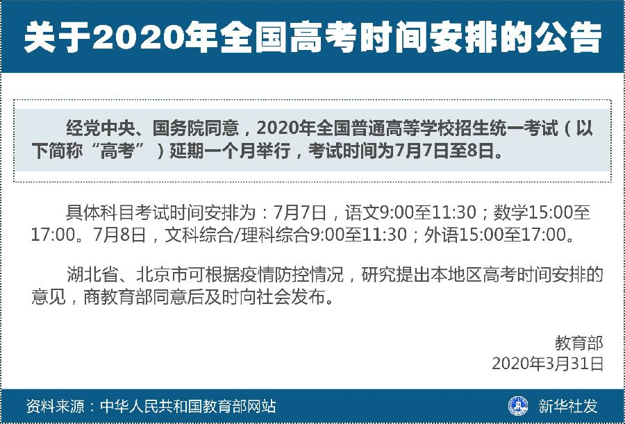 2020年全国普通高等学校招生统一考试时间为7月7日至8日