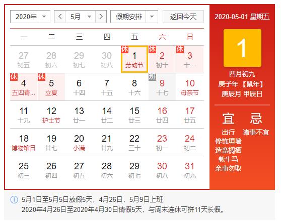 2020年5月1日至5日放假调休,共5天。4月26日(星期日)、5月9日(星期六)上班。
